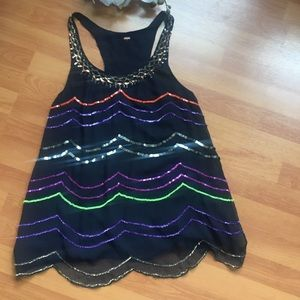 Free people sequin scalloped tank L